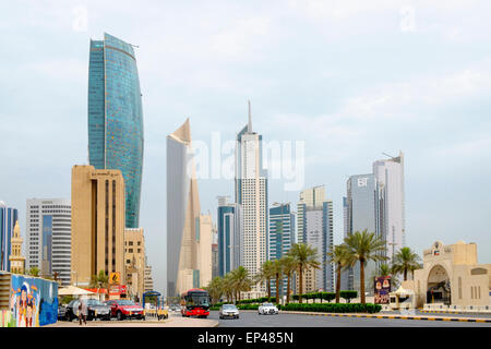 Modern skyscrapers in Central Business District (CBD) of Kuwait City , Kuwait. - Stock Photo