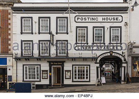 Established in the middle ages the Angel Inn is the last remaining coaching inn in Guildford, Surrey, now with a - Stock Photo
