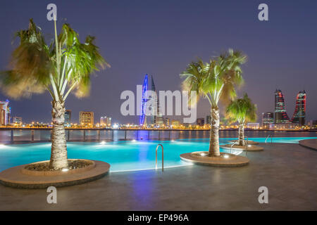 Skyline of Manama city  from new Four Seasons Bahrain Bay luxury Hotel in Bahrain - Stock Photo