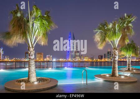 Skyline of Manama city  from new Four Seasons Bahrain Bay luxury Hotel in Bahrain - Stock Photo