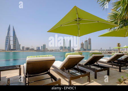 View of Bahrain skyline  from new Four Seasons Bahrain Bay luxury Hotel in Bahrain - Stock Photo