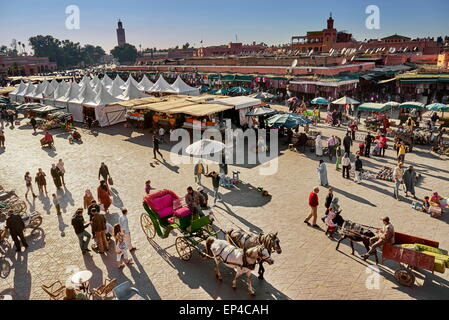 Marrakesh Medina. Jemaa el Fna Square in the early afternoon. Morocco - Stock Photo