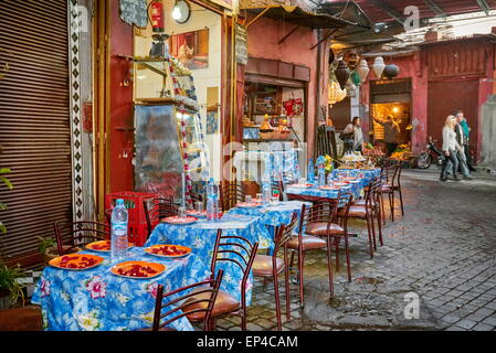 A local street restaurant near of the Djemaa el-Fna Square, Marrakech Medina, Morocco, Africa - Stock Photo