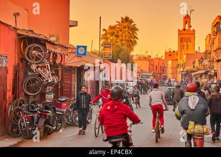 Marrakech Medina district, Morocco Africa - Stock Photo