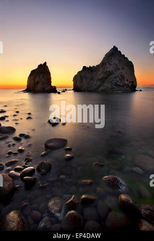 Sunset at Avlonas beach, very close to Myrina town, Lemnos (Limnos) island, North Aegean, Greece. - Stock Photo