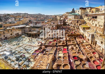 Fez Medina -  Chouwara leather tannery in Old Fes, Morocco, Africa - Stock Photo