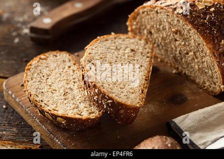 Organic Homemade Whole Wheat Bread Ready to Eat - Stock Photo