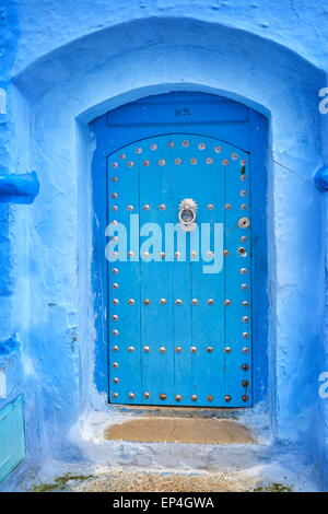 Chefchaouen (Chaouen) - walls of city buildings are painted blue color, Morocco - Stock Photo
