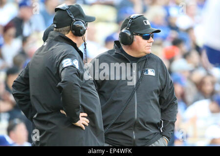 Los Angeles, CA, USA. 13th May, 2015. The umpires take one of two time stoppages for a replay review during the game between the Miami Marlins and the Los Angeles Dodgers, Dodger Stadium in Los Angeles, CA. Photographer: Peter Joneleit Credit:  csm/Alamy Live News