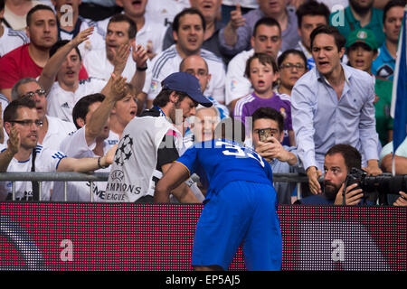 Madrid, Spain. 13th May, 2015. Patrice Evra (Juventus) Football/Soccer : Patrice Evra (Juventus withe a ball boy - Stock Photo