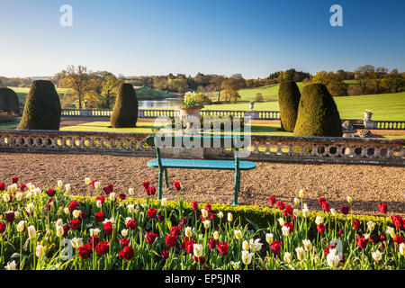 View from the terrace of Bowood House in Wiltshire. - Stock Photo