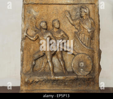 Altar. Relief. Myth of Cleobis and Bitone. Marble. Imperial Age. Rome. National Roman Museum. Baths of Diocletian. - Stock Photo