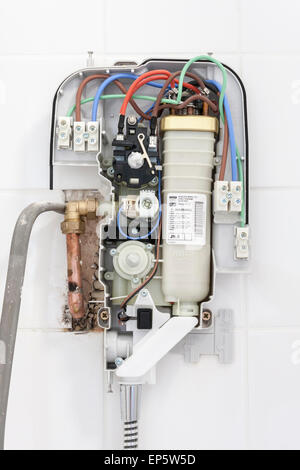 open case of electrical wiring for new shower fitting. Black Bedroom Furniture Sets. Home Design Ideas