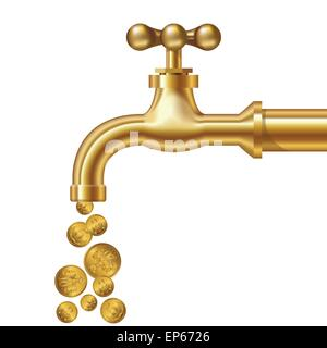Golden coins fall out of the golden tap. Isolated on white. Vector illustration - Stock Photo