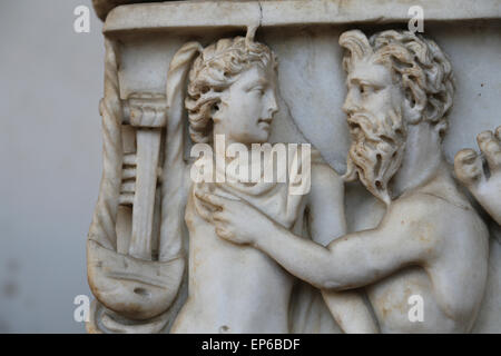 Roman sarcophagus. Apollo and Chiron. Detail. Marble. 2nd- 3rd c. AD. Rome. National Roman Museum. Baths of Diocletian. - Stock Photo