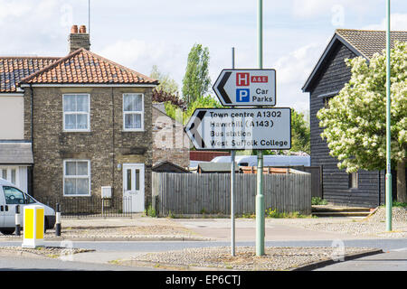 Sign for Town centre and Bus station and places in Bury St Edmunds, England - Stock Photo