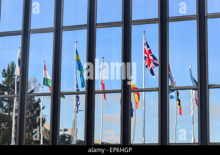 Union Jack and flags of the European Union countries at the European Commission, European Quarter, Luxembourg - Stock Photo