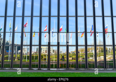 Flags of the European Union countries at the European Commission, European Quarter, Luxembourg - Stock Photo