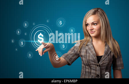 Businesswoman pressing modern business type of buttons - Stock Photo