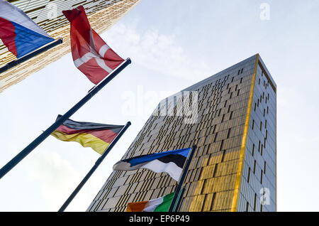 Golden twin towers of the Court of Justice of the European Union, in European Quarter, Kirchberg, Luxembourg, with - Stock Photo