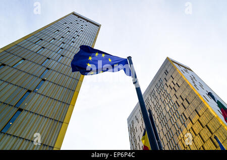 Golden twin towers of the Court of Justice of the European Union, in European Quarter, Kirchberg, Luxembourg, behind - Stock Photo