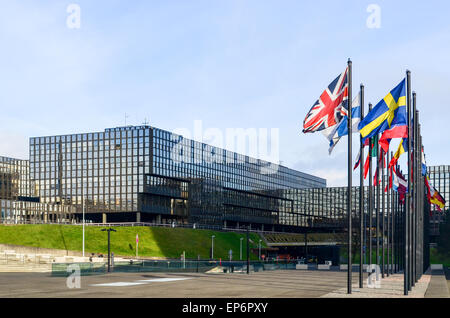 Union Jack at the European Commission (Bâtiment Jean Monnet) in the European Quarter, Kirchberg, Luxembourg - Stock Photo