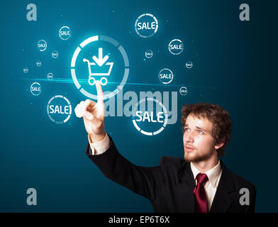 Businessman pressing virtual promotion and shipping type of icons - Stock Photo
