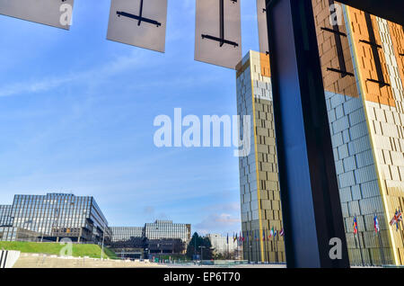 Golden twin towers and European Commission seen from the Court of Justice of the European Union, in Kirchberg, Luxembourg - Stock Photo
