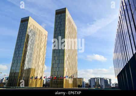 Golden twin towers of the Court of Justice of the European Union, in European Quarter, Kirchberg, Luxembourg - Stock Photo