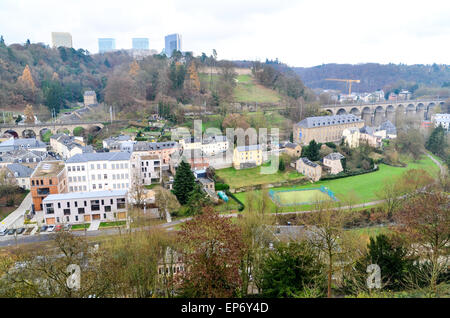 Kirchberg, the European quarter of Luxembourg and its skyscrapers (Court of Justice) seen from the Ville Haute across - Stock Photo