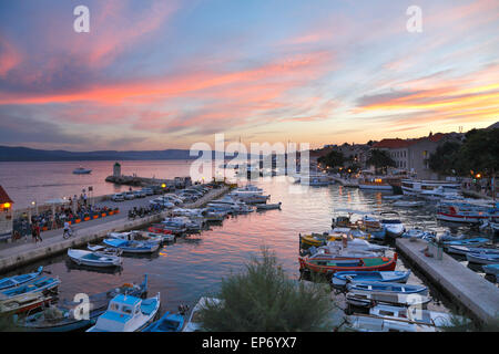 Bol town on island Brac at sunset, Dalmatia, Croatia - Stock Photo