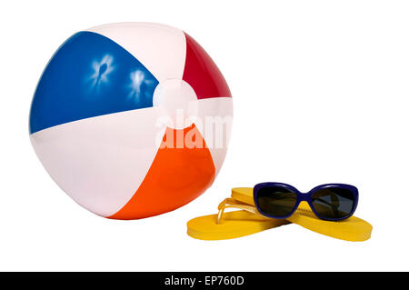 Beach Accessories With Beach Ball Flip Flops And Sunglasses Isolated - Stock Photo