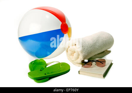Summer At The Beach Accessories With Beach Ball On White Background - Stock Photo