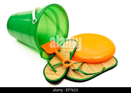 Beach Toys And Accessories Isolated On White - Stock Photo