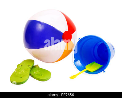 Summer Fun Beach Accessories Beach Ball Flip Flops And Pail With Shovel On White Background - Stock Photo