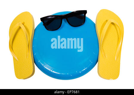 Flip Flops And Frisbee Summer Fun Outdoors - Stock Photo