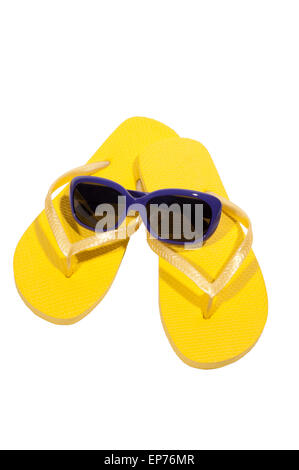 Vacation Time Summer Yellow Flip Flops With Sunglasses Isolated On White - Stock Photo
