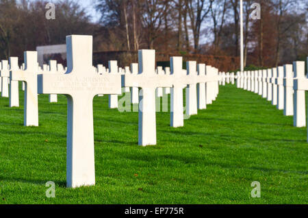 Graves of more than 5000 US soldiers at the Luxembourg American Cemetery and Memorial who died during World War - Stock Photo