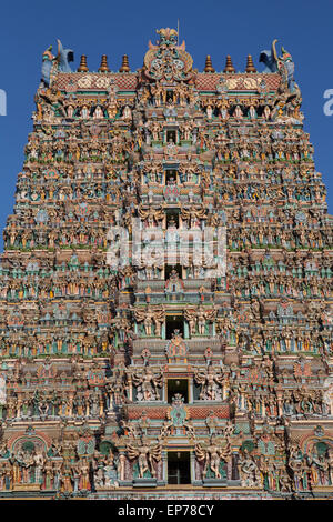 Gopuram at the Sri Meenakshi Temple in Madurai - Stock Photo