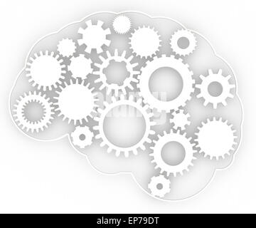 Cogs in the shape of human brain. Technological concept - Stock Photo