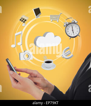 Businesswoman using various applications on mobile phone - Stock Photo