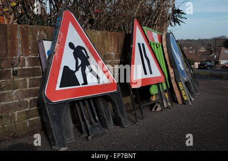 Variety of roadwork signs - Stock Photo