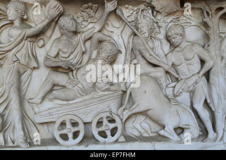 Sarcophagus with Dionysiac ceremonial procession. 2nd c. Roman. Detail relief. - Stock Photo