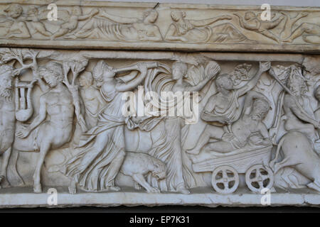 Sarcophagus with Dionysiac ceremonial procession on the front and on the sides. 160-180 AD. Rome. National Roman - Stock Photo