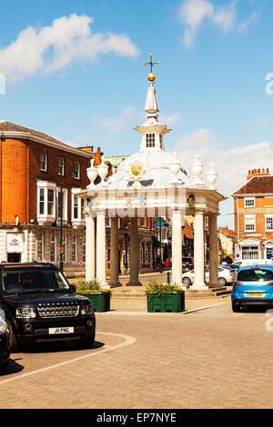 Beverley town centre bandstand market place shops road high street East Riding Of Yorkshire UK England center - Stock Photo