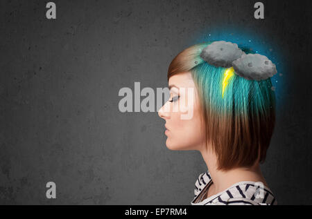 Young girl with thunderstorm lightning headache - Stock Photo
