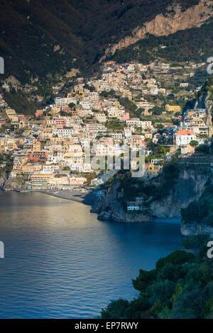 Early morning view of Positano, along the Amalfi Coast, Campania, Italy - Stock Photo
