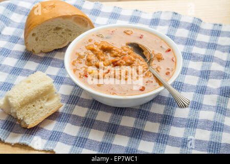A bowl of chicken tortilla soup on a blue checked cloth in window light with french bread - Stock Photo