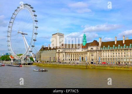 London Eye, South Bank London England UK - Stock Photo