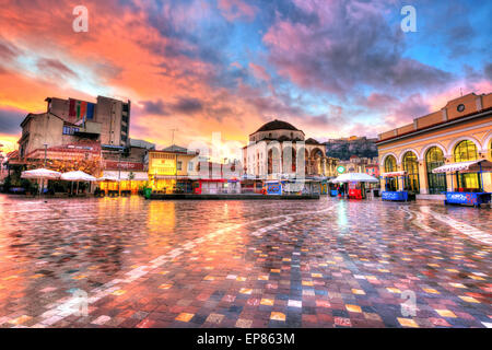 Monastiraki square early in the morning - Stock Photo